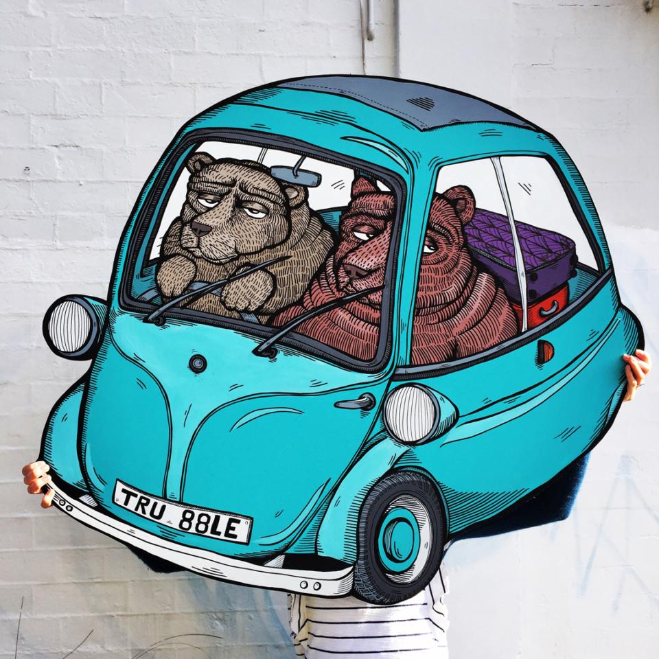 Bears in a bubble car